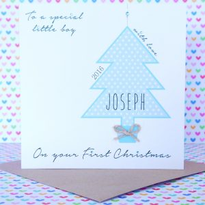 Beautiful Personalised Handmade Boy First 1st Christmas Card
