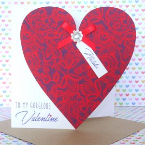 Beautiful Personalised Handmade Valentine Valentines Valentine's Day Card