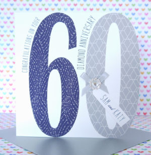 Lovely Personalised Handmade Diamond 60th Wedding Anniversary Card
