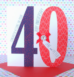 Lovely Personalised Handmade Ruby 40th Wedding Anniversary Card