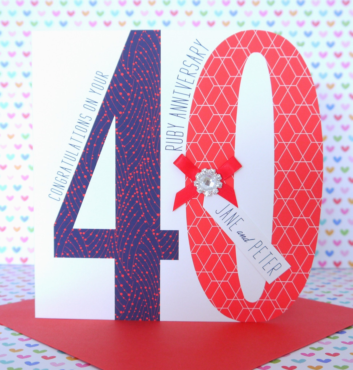 40th Wedding Anniversary.Lovely Personalised Handmade Ruby 40th Wedding Anniversary Card