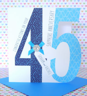 Lovely Personalised Handmade Sapphire 45th Wedding Anniversary Card