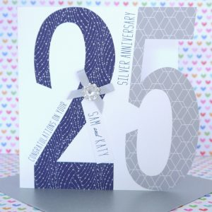Lovely Personalised Handmade Silver 25th Wedding Anniversary Card
