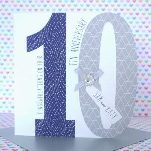 Lovely Personalised Handmade Tin 10th Wedding Anniversary Card
