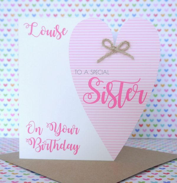 Personalised Handmade Birthday Card Friend Sister Mum Nanny