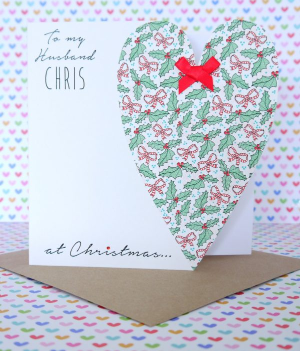 Personalised Handmade Christmas Card, Husband, Wife, Boyfriend, Girlfriend