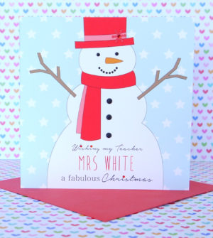 Personalised Handmade Christmas Card,Mum & Dad, Grandparents, Teacher, Godson