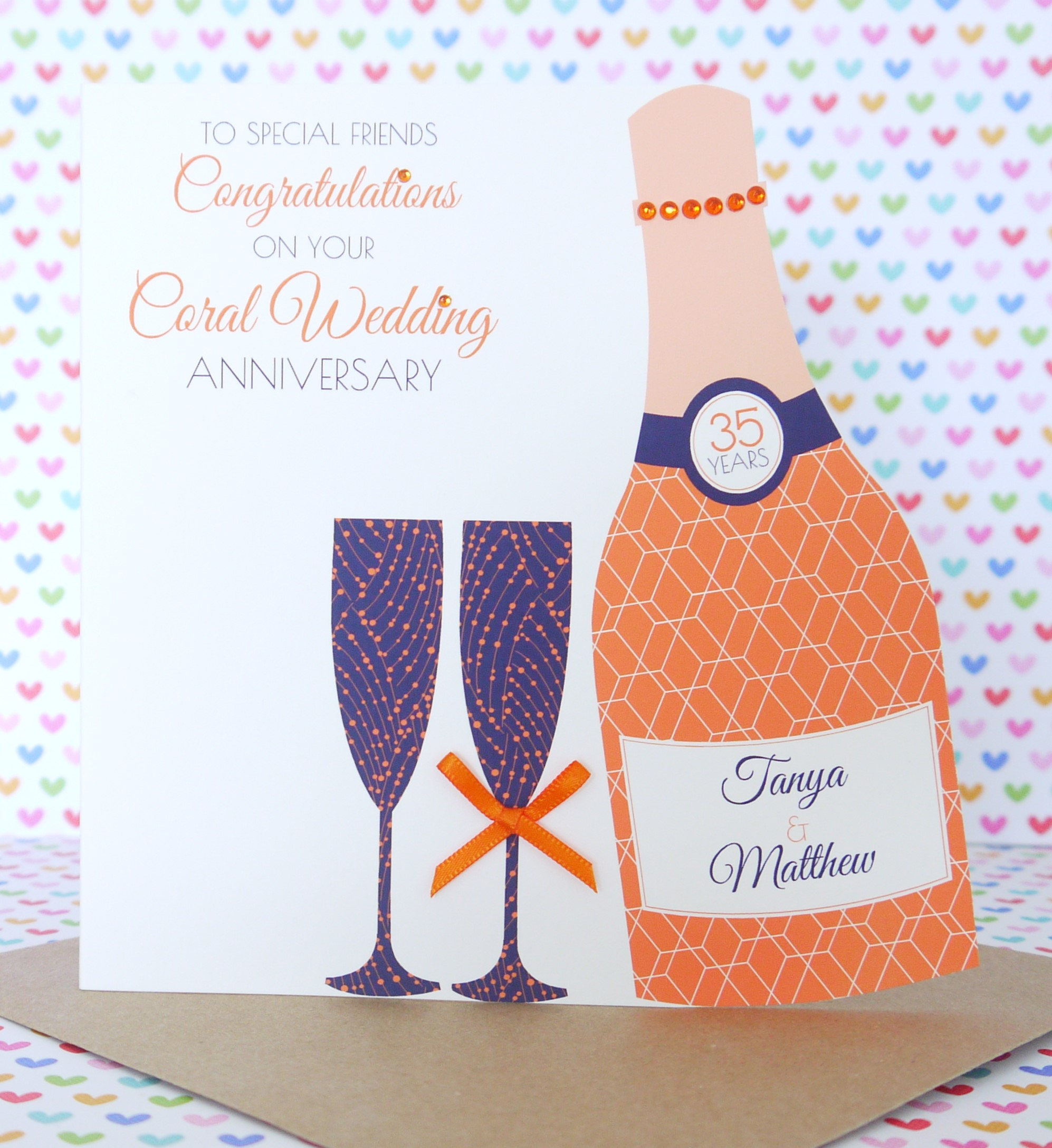 Personalised Handmade Coral/35th Wedding Anniversary Card