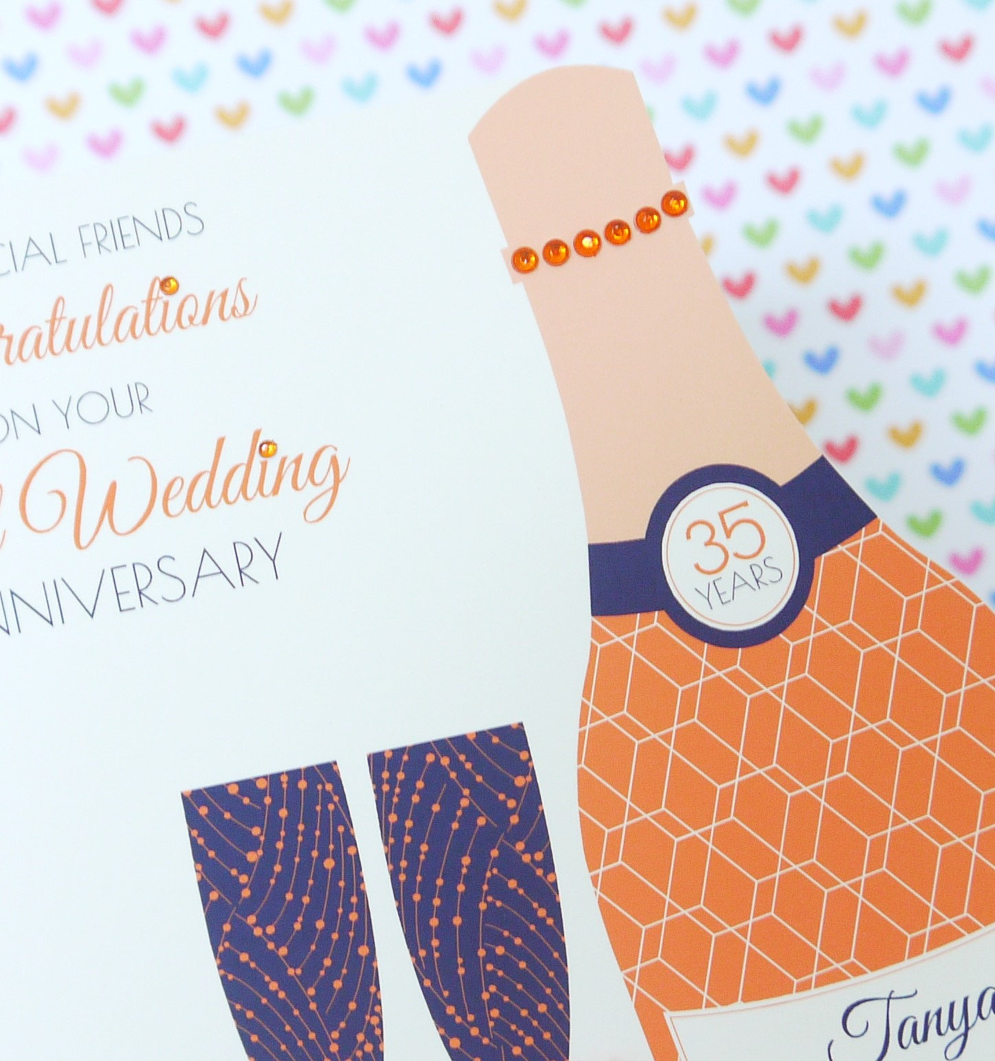 personalised handmade coral 35th wedding anniversary card creative
