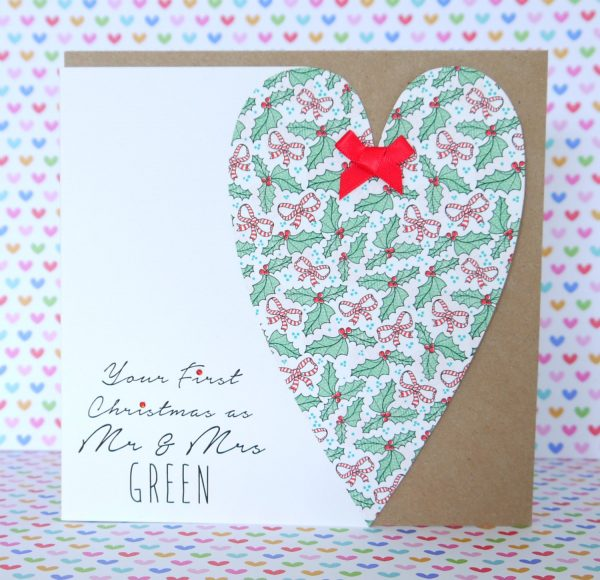 Personalised Handmade Mr and Mrs, Mr and Mr, Mrs and Mrs First Christmas Card
