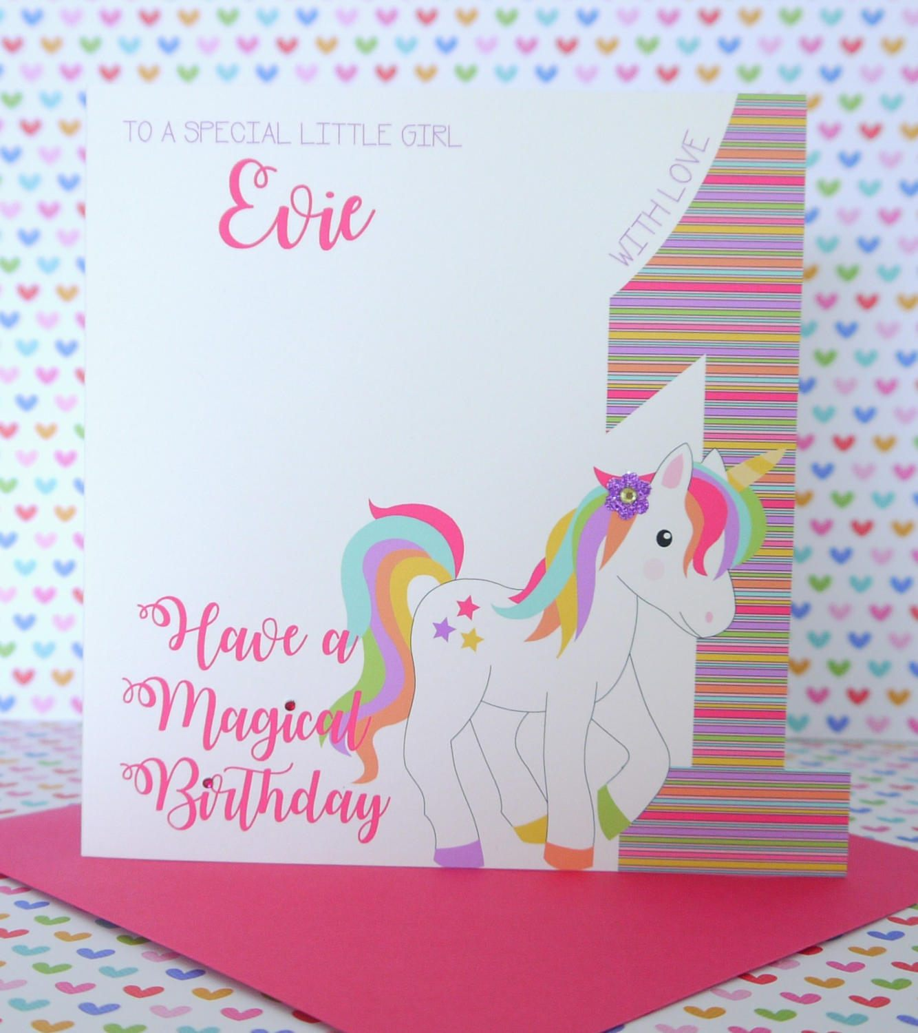 Unicorn Personalised Birthday Card Daughter Niece Sister Any Feesten Speciale Gelegenheden 1st 2nd 3rd Etc