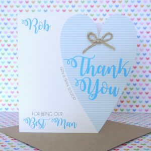 Personalised Handmade Wedding Thank You for being our Best Man Card