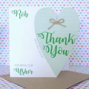 Personalised Handmade Wedding Thank You for being our Usher Card